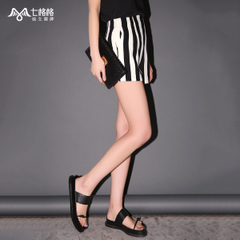 Seven space space OTHERMIX2015 new black and white vertical stripes in summer high waist shorts women