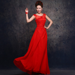 New 2015 spring wedding dresses bride toast clothing wedding dress women's red one shoulder dresses