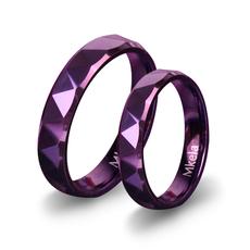 梦克拉 紫色钨金情侣对戒 炫美悦美 情侣戒指 男女一对 刻字礼物