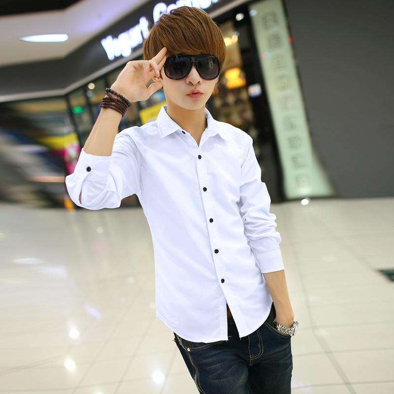 秋季男士长袖衬衫男式韩版修身休闲青少年白色衬衣春装潮男装衬衫