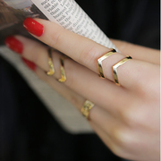 Korean version of the index finger ring women fashion Joker hyperbole Korea joint ring set of three rings Korea jewelry