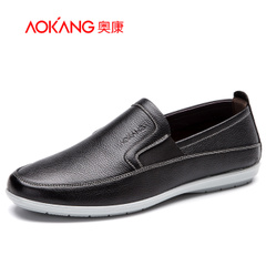 Aokang shoes daily casual leather shoes men's comfortable and easy to drive new men's shoes low cut lazy man shoes