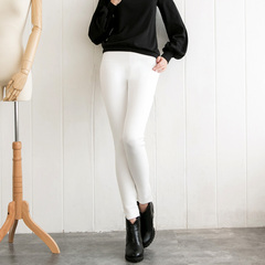 Europe and the new spring elastic air minimalist white skinny jeans slim fit slim leisure trousers with bound feet 9247