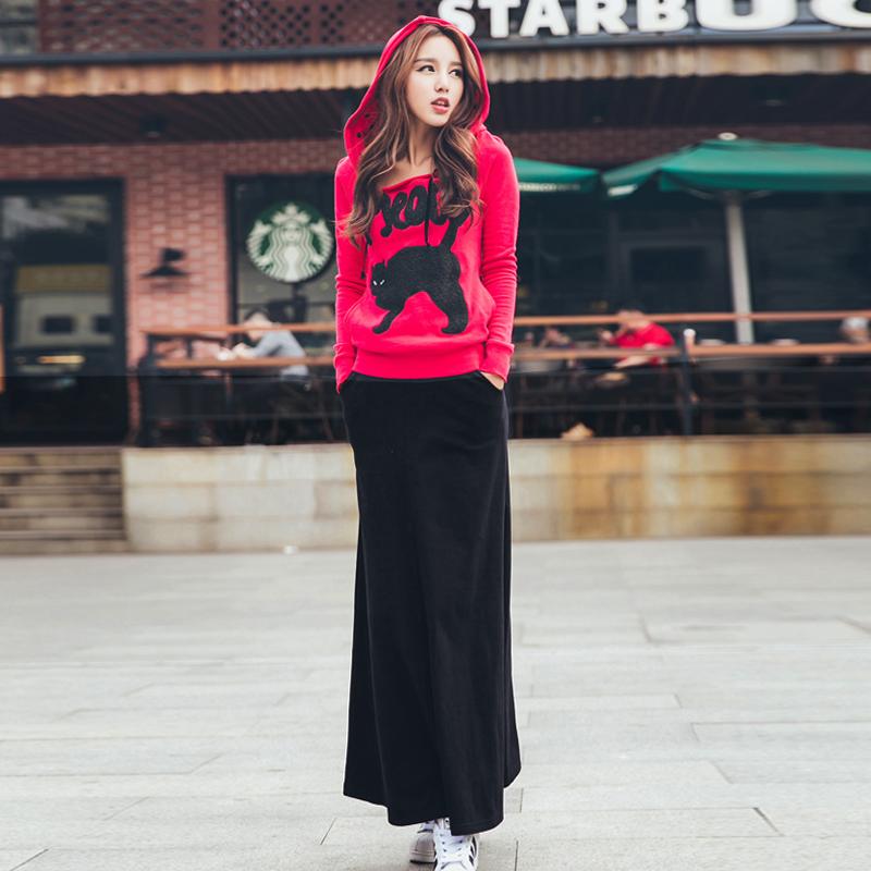 鱼余韩版卫衣女装春装玫红休闲时尚套装连衣中长裙两件套修身显瘦