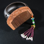 Very Thai 925 Silver Garnet tassel mahogany retro carved Walnut comb comb women new
