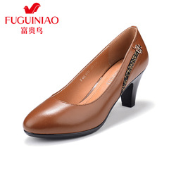 Rich bird fall of rough with black high heels shoes genuine leather 2015 fall shoes women's shoes shoes