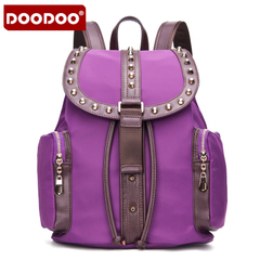 Doodoo leisure rivet backpack girl Korean version flows Institute Wind Street travel autumn women nylon backpack bag