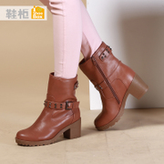 Shoebox shoe 2015 in new European and American trends in winter boots side zipper thick with casual boots