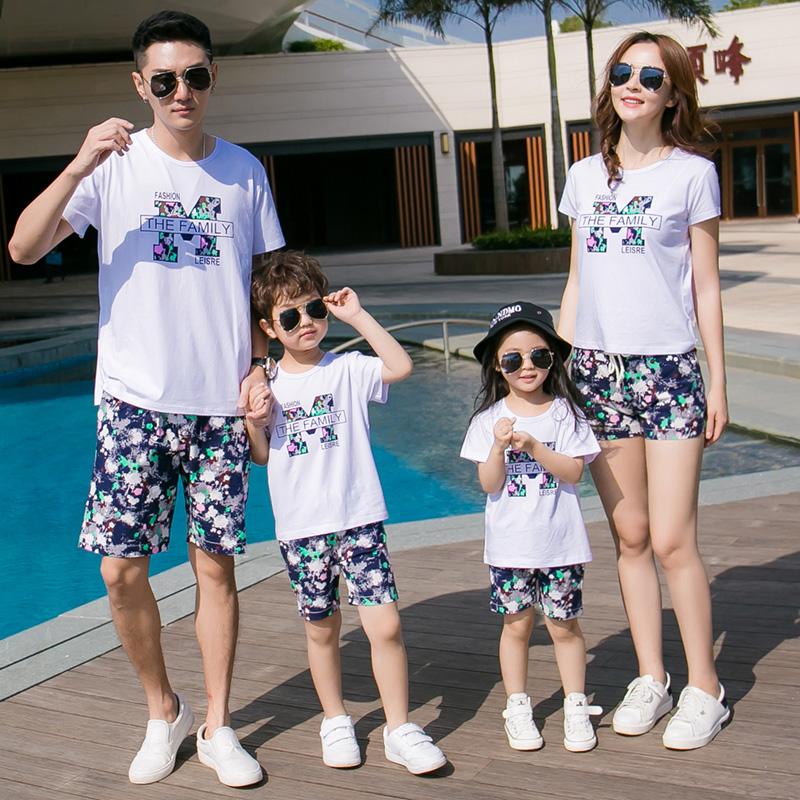 亲子装夏装海边一家三口套装海南泰国旅游度假全家休闲短袖家庭装