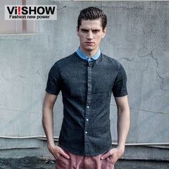 Viishow trend square collar men cotton youth short sleeve denim shirt casual slim shirts