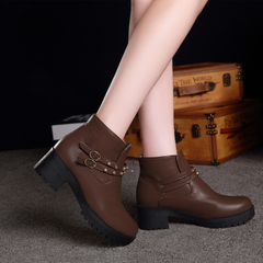 2015 winter new style thick with round head Martin boots women short sleeve riveting fashion boots and bare boot women's boots