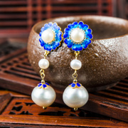 Very Thai cloisonne 925 Silver natural Pearl Stud Earrings to burn blue Joker long Pearl Earrings Lady