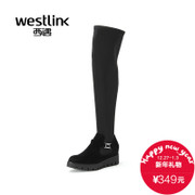 Westlink/West New 2015 winter stitching leather over the knee platform boots, thin leg stretch boots women's boots