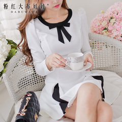 Long sleeve dress big pink doll summer 2015 new Womenswear dresses, slim bows a pendulum