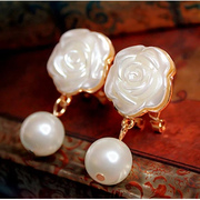 Korea fashion earrings Pearl Earring girls flashing diamond flower earring temperament long Korean ear jewelry package mail
