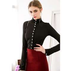 Spring in Europe and America the new elegant Pearl button commuting simple retro high neck long sleeve shirt tops 9278