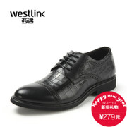 Westlink West men's business casual shoes the first layer of leather carved alligator shoes Daddy big shoes new