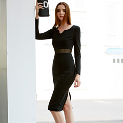Europe Spring new style sexy see-through mesh mosaic high waist skinny little black dress wave v neck dress 9346