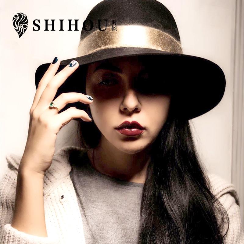 秋冬季韩版丝绒礼帽女欧美英伦大檐时尚羊毛呢帽子女百搭爵士帽