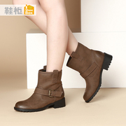 Shoe/shoebox2015 new winter trend of solid-colored rough-in-tube in a simple round-headed women's boots women's boots