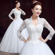 Bride wedding dress new 2015 spring/summer fashion lace v neck long sleeve wedding dresses plus size slim slimming