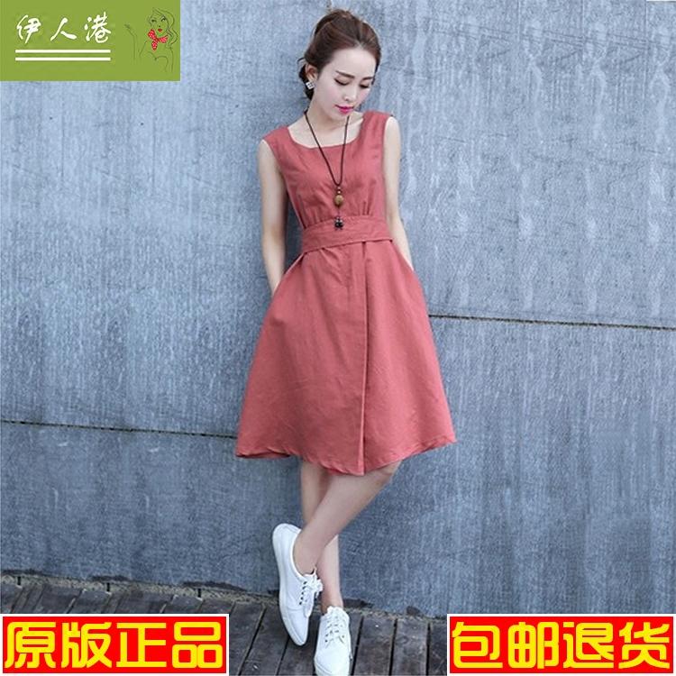棉麻连衣裙女夏装2018新款韩版优雅气质淑女修身无袖文艺裙子学生