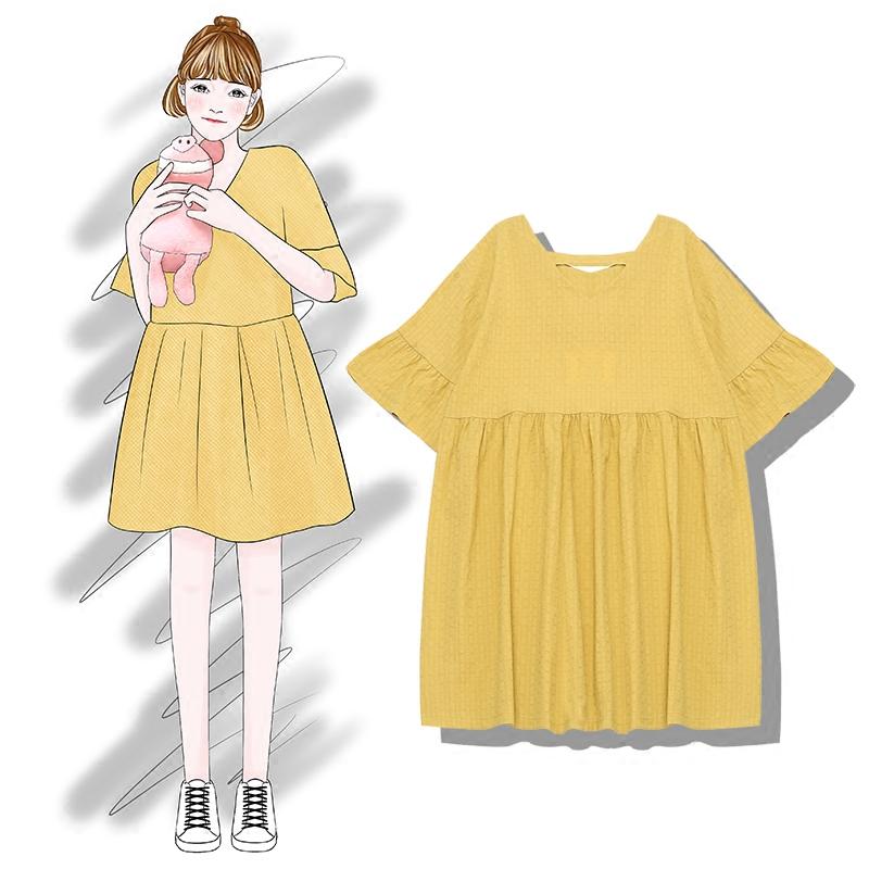 芭那那   韩国学院风百搭显瘦oversize镂空纯色娃娃连衣裙女宽松