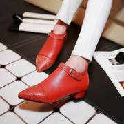 Strange love 2015 spring new deep rivet pointed shoes tumbled leather shoes with calf in Korean version of Orange