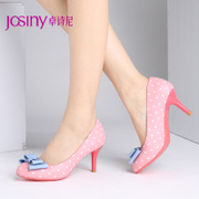 Zhuo Shini spring new pumps, bow pointed stiletto shoes sweet wave in 143154330