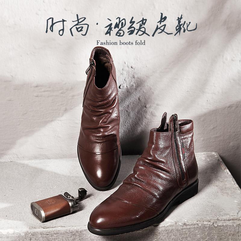 布莱希尔顿软皮靴男靴韩版潮流冬季加绒棉鞋真皮冬靴男士短靴子