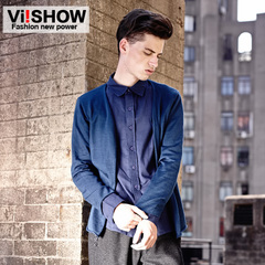 Viishow 2015 spring men's fake two-piece slim Cardigan Sweaters College wind shirt collar male