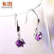 When Korean fashion jewelry 925 Silver Amethyst earrings gave his girlfriend a birthday gift Angel Wings