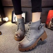 2015 quarter strap shoes for fall/winter women's retro shoes with chunky heels and boots in thick-soled booties student women's tide