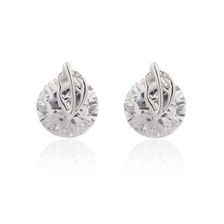 Love Korean fashion jewelry CZ leaf female temperament to long leaf earrings-Stud Korea