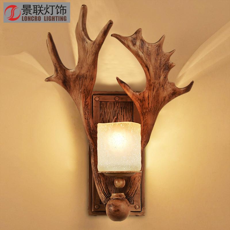 复古壁灯客厅美式乡村鹿角灯过道卧室床头灯壁灯北欧鹿角壁灯客厅