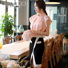 Female summer Shirt Pink doll 2015 summer dress new style falbala slim chiffon sleeveless blouse