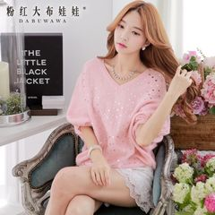 Sweater girls big pink doll 2015 spring women's new Korean version of knitted pullovers loose sweater