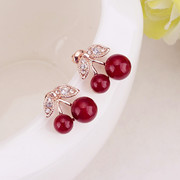 Email Korea sweet temperament Joker new female Korean fashion cute red cherry Stud Earrings ear jewelry earrings