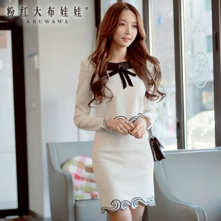Suits girls pink dolls in the autumn 2015 autumn temperament jewelry sets Korean ladies white slim female boomers