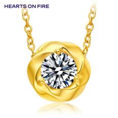 「HOF」Hearts On Fire 新品黄色18K金50分钻石项链/吊坠UU 187