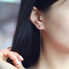 925银豆豆流苏长款简约多带耳线耳坠耳钉个性百搭耳环日韩配饰品