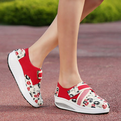 Microphone Ta-fall 2015 platform shoes platform Korean version flows increased female Velcro canvas lazy rocking shoes women