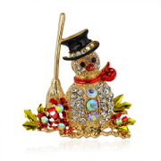 Mu-Mu-jewelry brooch Christmas party gift Korea fashion accessory Korean version of the snowman with faux rhinestone Crystal brooch