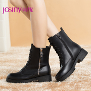 Zhuo Shini autumn/winter 2014 new short boots women round chain boots boots with rough with Martin 144272824