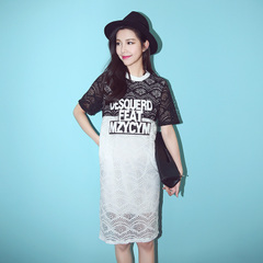 New Korea spring/summer QUEENZZ/2015 leisure letter mosaics fairy Korean lace t dress in summer