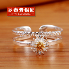 Chandos and old silversmiths s925 silver ring opening can be adjusted when Japan and South Korea Shang Chuju rings silver jewelry gifts