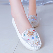 Doug female summer shoes 2015 Korean round head with mother with flat shoes, rhinestone shoes asakuchi casual flat shoes