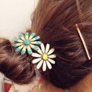 Cool na Korean hair accessories fashion jewelry vintage oil dripping Daisy flower hair rope girls string 6206