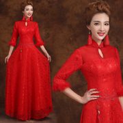 2015 new bride wedding dress long sleeve red fall and winter long toast costume improved MIDI retro-