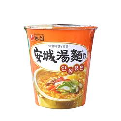 韩国进口农心安城汤面玲珑杯方便面速食泡面微辣劲道碗面杯面66g
